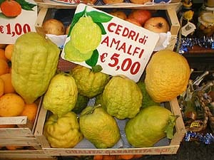 Expensive even in Amalfi, fragrant citrons for sale 