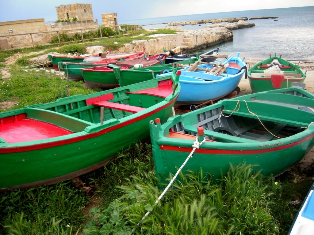 Fishing Boats in Puglia with Norman Watchtower