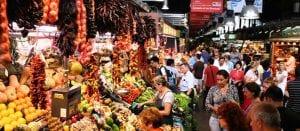 a busy market scene in Tel Aviv